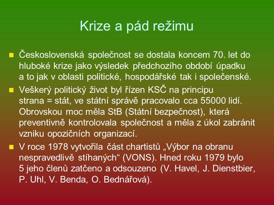 Krize a pád režimu Československá společnost se dostala koncem 70. let do hluboké krize jako výsledek předchozího období úpadku a to jak v oblasti pol