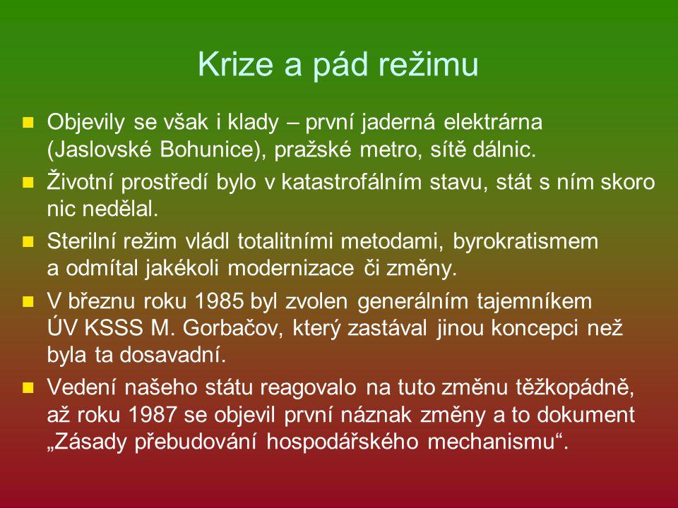 Krize a pád režimu Objevily se však i klady – první jaderná elektrárna (Jaslovské Bohunice), pražské metro, sítě dálnic. Životní prostředí bylo v kata