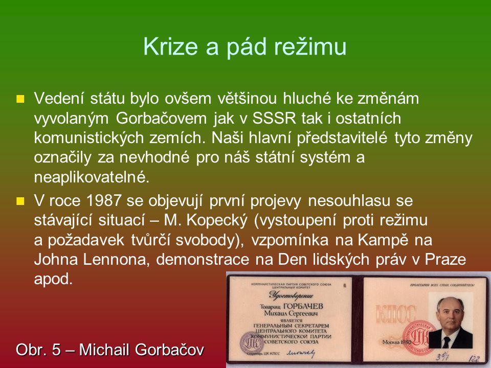 Krize a pád režimu Vedení státu bylo ovšem většinou hluché ke změnám vyvolaným Gorbačovem jak v SSSR tak i ostatních komunistických zemích. Naši hlavn