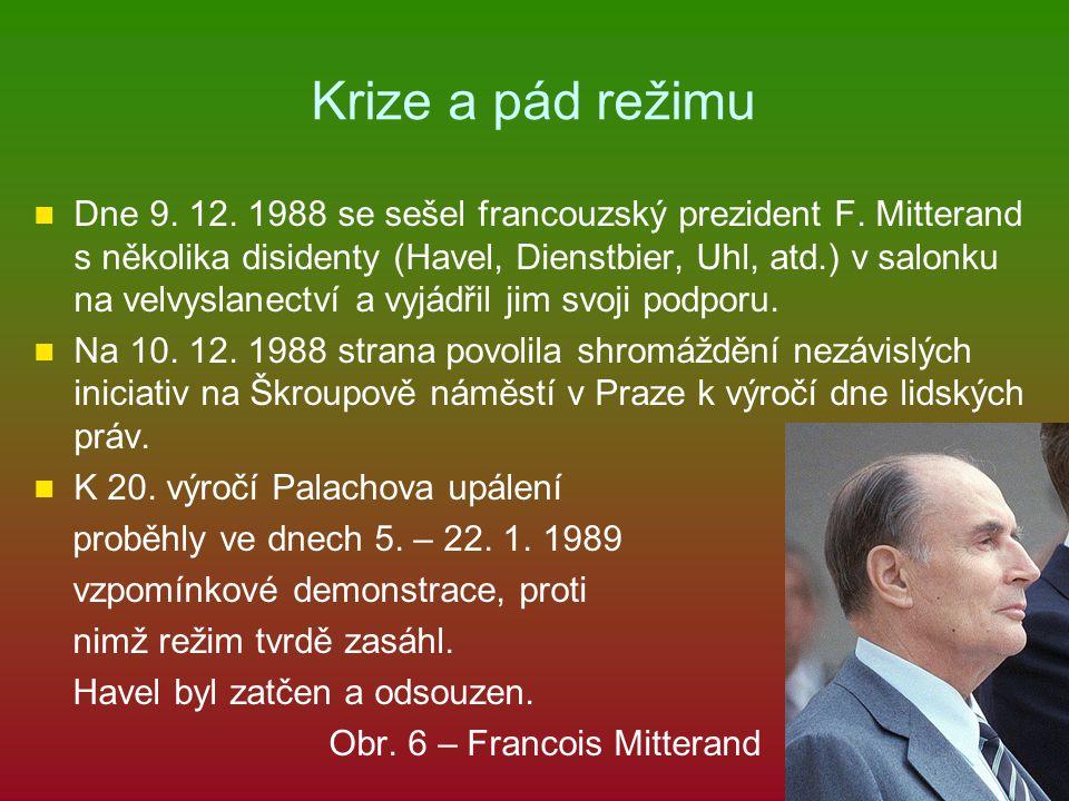 Krize a pád režimu Dne 9. 12. 1988 se sešel francouzský prezident F. Mitterand s několika disidenty (Havel, Dienstbier, Uhl, atd.) v salonku na velvys