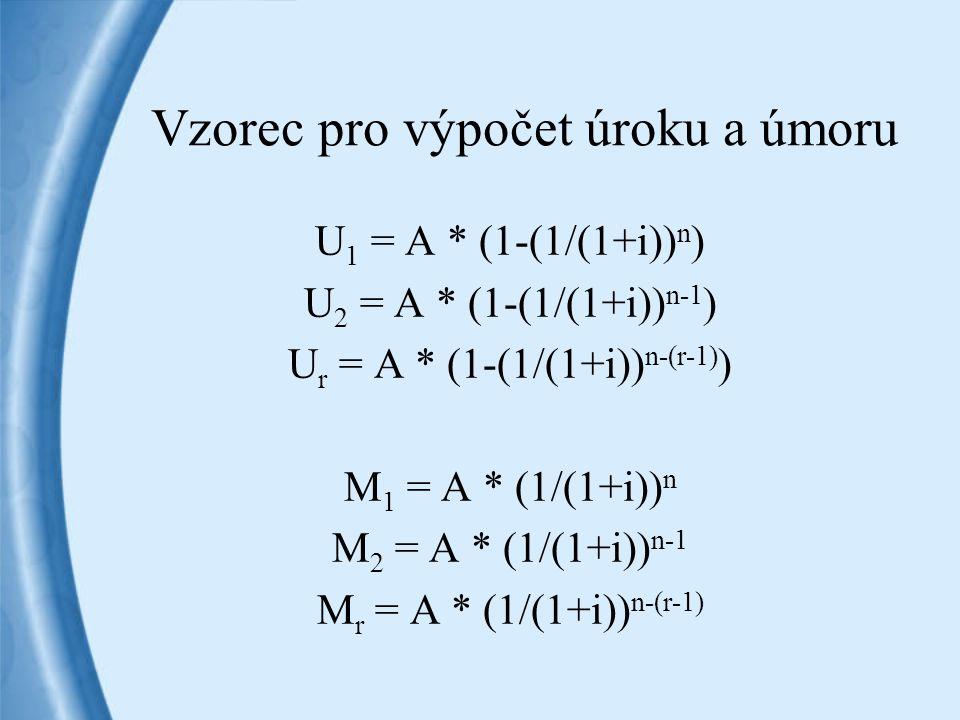 Vzorec pro výpočet úroku a úmoru U 1 = A * (1-(1/(1+i)) n ) U 2 = A * (1-(1/(1+i)) n-1 ) U r = A * (1-(1/(1+i)) n-(r-1) ) M 1 = A * (1/(1+i)) n M 2 =
