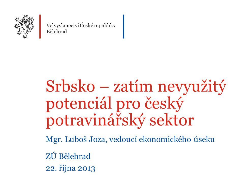 Velvyslanectví České republiky Bělehrad Srbsko – zatím nevyužitý potenciál pro český potravinářský sektor Mgr. Luboš Joza, vedoucí ekonomického úseku