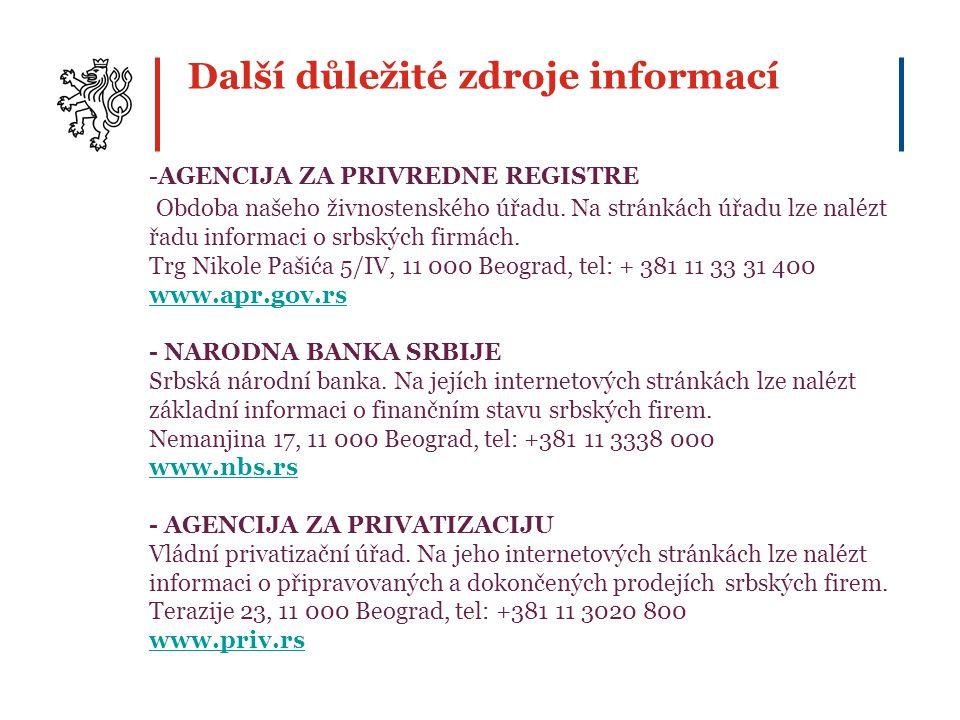 Další důležité zdroje informací -AGENCIJA ZA PRIVREDNE REGISTRE Obdoba našeho živnostenského úřadu. Na stránkách úřadu lze nalézt řadu informaci o srb