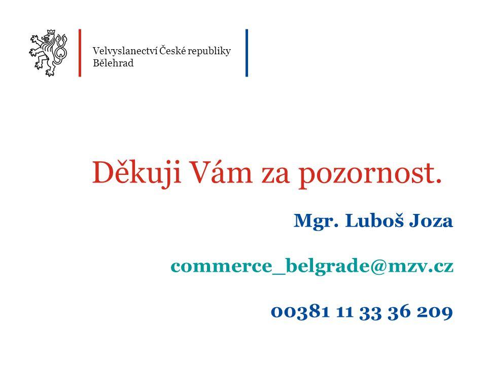 Velvyslanectví České republiky Bělehrad Děkuji Vám za pozornost.