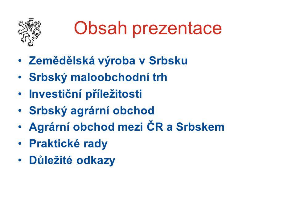 Obsah prezentace Zemědělská výroba v Srbsku Srbský maloobchodní trh Investiční příležitosti Srbský agrární obchod Agrární obchod mezi ČR a Srbskem Praktické rady Důležité odkazy