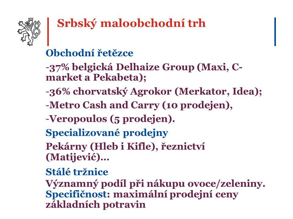 Obchodní řetězce -37% belgická Delhaize Group (Maxi, C- market a Pekabeta); -36% chorvatský Agrokor (Merkator, Idea); -Metro Cash and Carry (10 prodejen), -Veropoulos (5 prodejen).