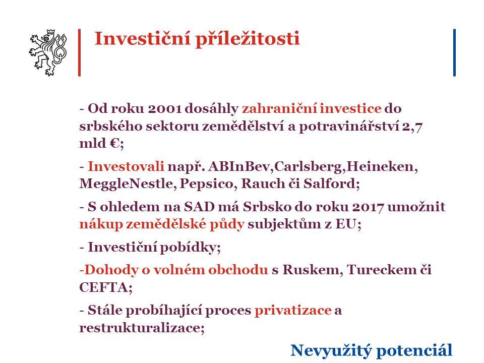 Investiční příležitosti - Od roku 2001 dosáhly zahraniční investice do srbského sektoru zemědělství a potravinářství 2,7 mld €; - Investovali např.