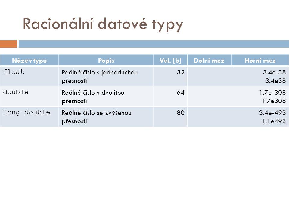 Racionální datové typy Název typuPopisVel.