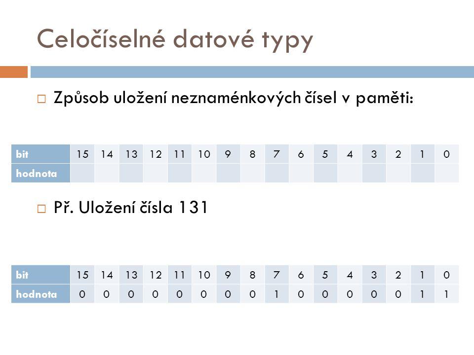 Celočíselné datové typy  Způsob uložení neznaménkových čísel v paměti:  Př.