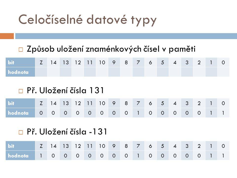 Celočíselné datové typy Název typuPopisVel.