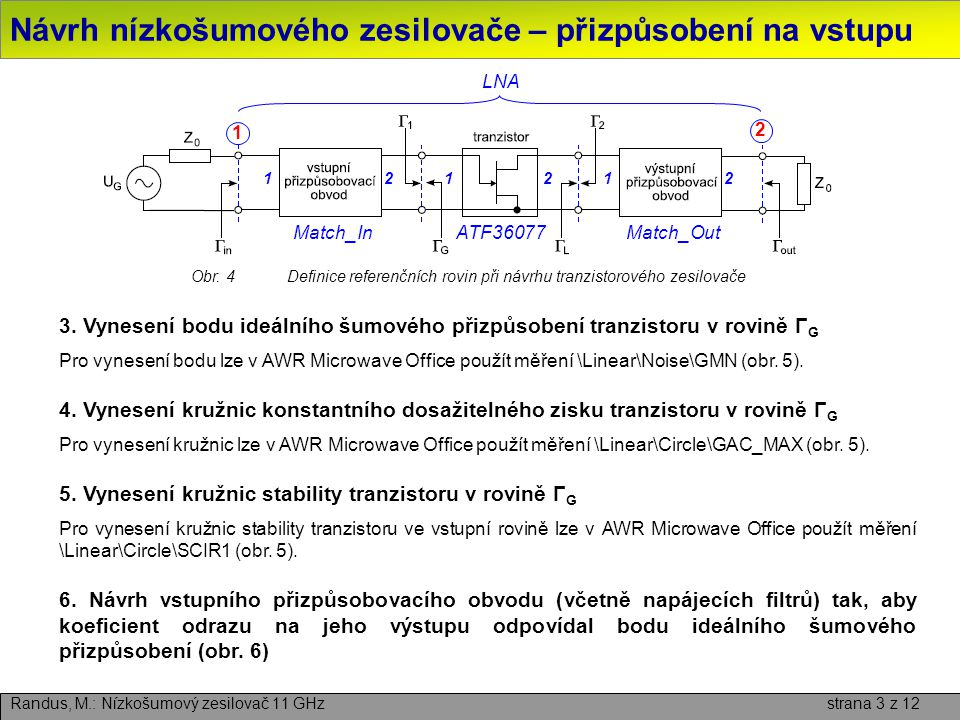 Návrh nízkošumového zesilovače – přizpůsobení na vstupu Randus, M.: Nízkošumový zesilovač 11 GHz strana 4 z 12 Obr.