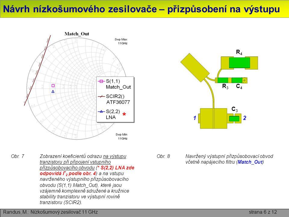 Návrh nízkošumového zesilovače – přizpůsobení na výstupu Randus, M.: Nízkošumový zesilovač 11 GHz strana 6 z 12 Obr.