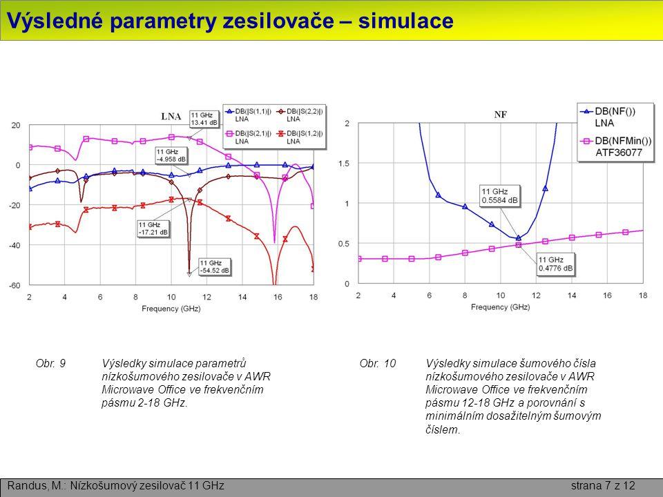 Layout a realizace nízkošumového zesilovače Randus, M.: Nízkošumový zesilovač 11 GHz strana 8 z 12 Obr.