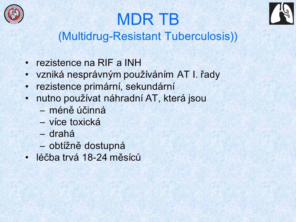 MDR TB (Multidrug-Resistant Tuberculosis)) rezistence na RIF a INH vzniká nesprávným používáním AT I. řady rezistence primární, sekundární nutno použí