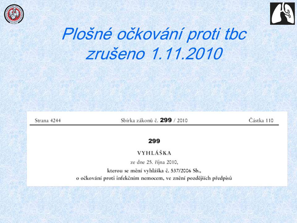 Plošné očkování proti tbc zrušeno 1.11.2010