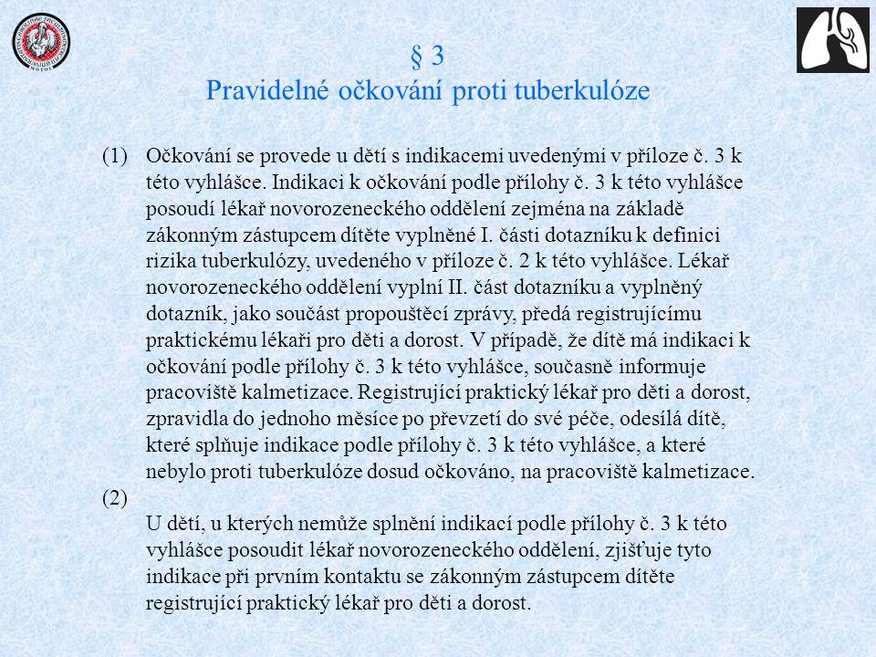 (1)Očkování se provede u dětí s indikacemi uvedenými v příloze č. 3 k této vyhlášce. Indikaci k očkování podle přílohy č. 3 k této vyhlášce posoudí lé