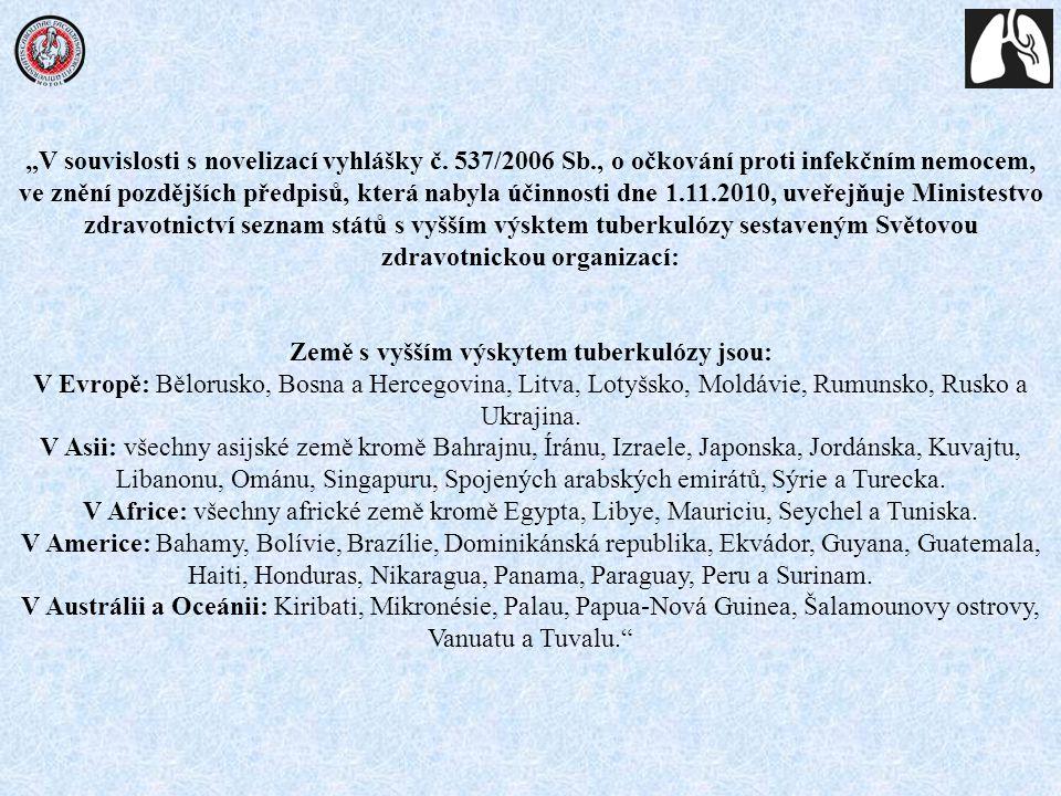 """""""V souvislosti s novelizací vyhlášky č. 537/2006 Sb., o očkování proti infekčním nemocem, ve znění pozdějších předpisů, která nabyla účinnosti dne 1.1"""