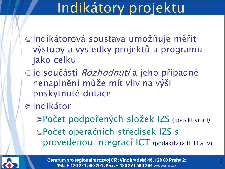 Centrum pro regionální rozvoj ČR; Vinohradská 46, 120 00 Praha 2; Tel.: + 420 221 580 201; Fax: + 420 221 580 284 www.crr.czwww.crr.cz 12 Indikátory projektu ⋐Indikátorová soustava umožňuje měřit výstupy a výsledky projektů a programu jako celku ⋐je součástí Rozhodnutí a jeho případné nenaplnění může mít vliv na výši poskytnuté dotace ⋐Indikátor ⋐Počet podpořených složek IZS (podaktivita I) ⋐Počet operačních středisek IZS s provedenou integrací ICT (podaktivita II, III a IV)