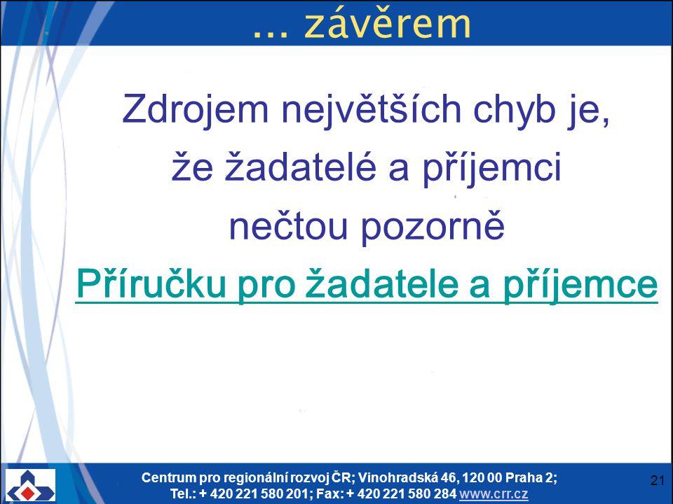 Centrum pro regionální rozvoj ČR; Vinohradská 46, 120 00 Praha 2; Tel.: + 420 221 580 201; Fax: + 420 221 580 284 www.crr.czwww.crr.cz 21... závěrem Z