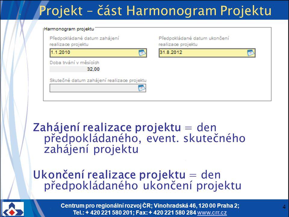 Centrum pro regionální rozvoj ČR; Vinohradská 46, 120 00 Praha 2; Tel.: + 420 221 580 201; Fax: + 420 221 580 284 www.crr.czwww.crr.cz 4 Projekt – čás