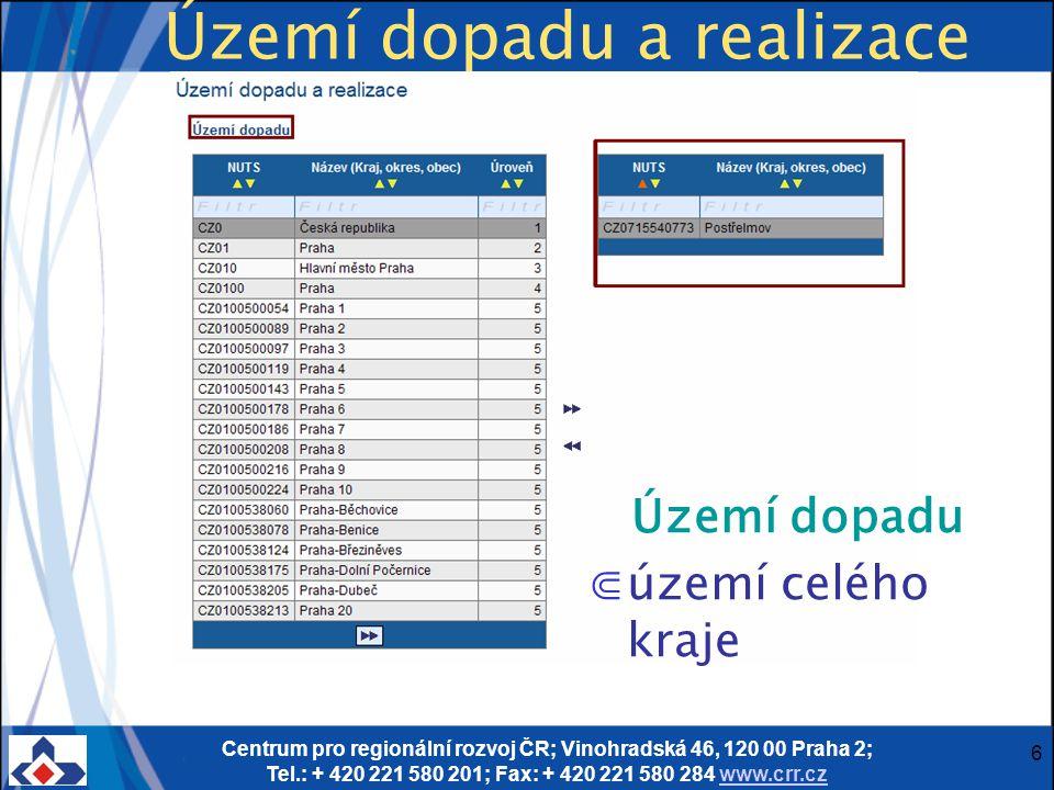 Centrum pro regionální rozvoj ČR; Vinohradská 46, 120 00 Praha 2; Tel.: + 420 221 580 201; Fax: + 420 221 580 284 www.crr.czwww.crr.cz 6 Území dopadu