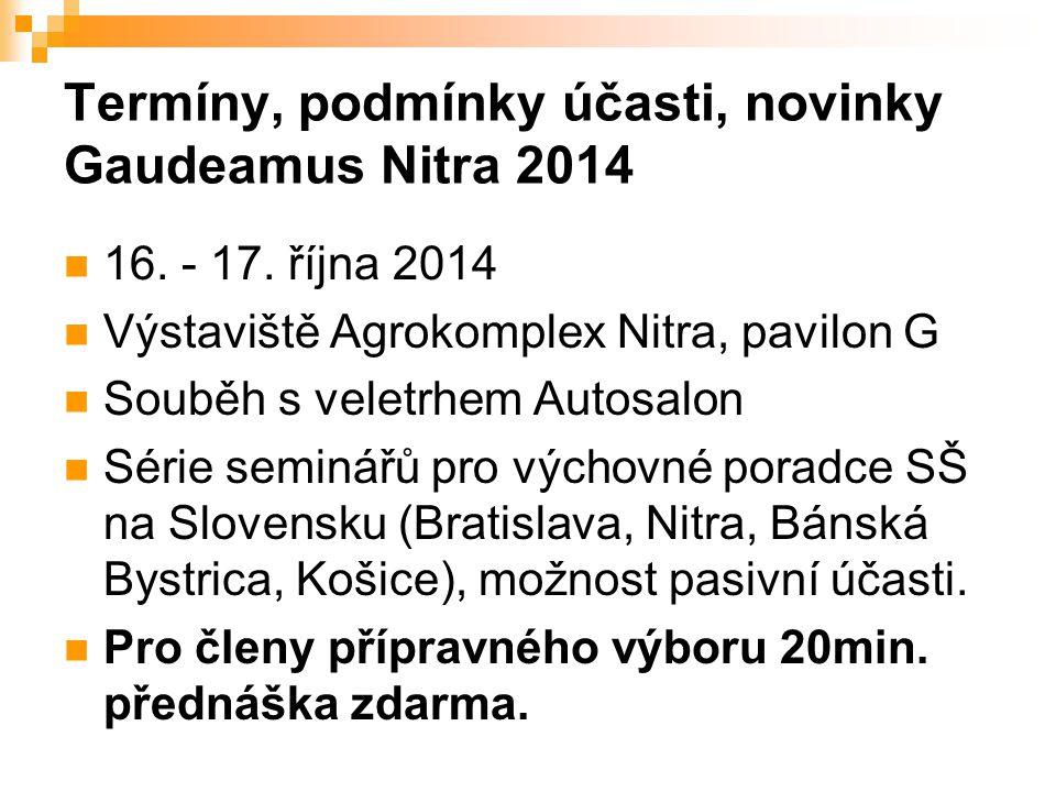 Termíny, podmínky účasti, novinky Gaudeamus Nitra 2014 16.