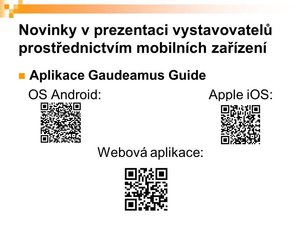 Novinky v prezentaci vystavovatelů prostřednictvím mobilních zařízení Aplikace Gaudeamus Guide OS Android:Apple iOS: Webová aplikace:
