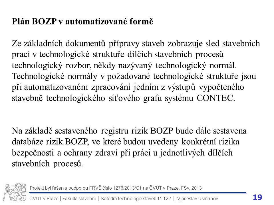 19 ČVUT v Praze Fakulta stavební Katedra technologie staveb 11 122 Vjačeslav Usmanov II Projekt byl řešen s podporou FRVŠ číslo 1276/2013/G1 na ČVUT v