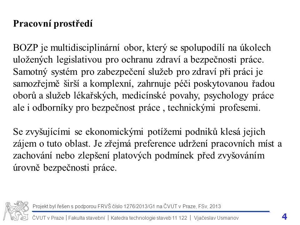 4 ČVUT v Praze Fakulta stavební Katedra technologie staveb 11 122 Vjačeslav Usmanov II Projekt byl řešen s podporou FRVŠ číslo 1276/2013/G1 na ČVUT v