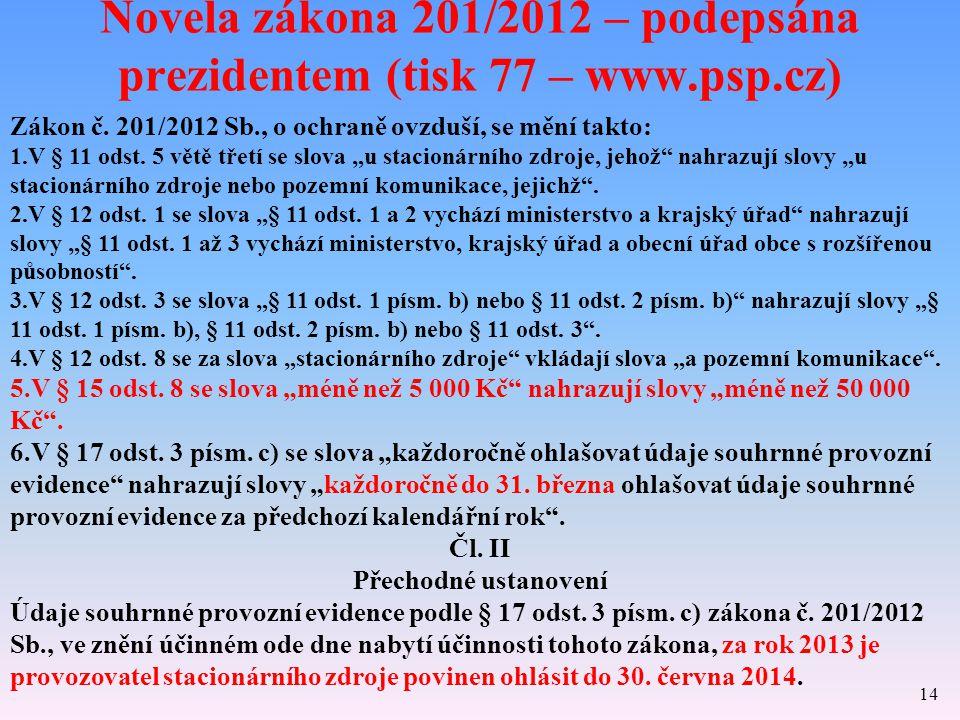 Novela zákona 201/2012 – podepsána prezidentem (tisk 77 – www.psp.cz) 14 Zákon č. 201/2012 Sb., o ochraně ovzduší, se mění takto: 1.V § 11 odst. 5 vět