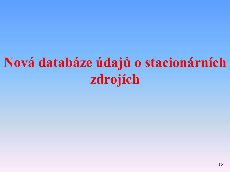 Nová databáze údajů o stacionárních zdrojích 16