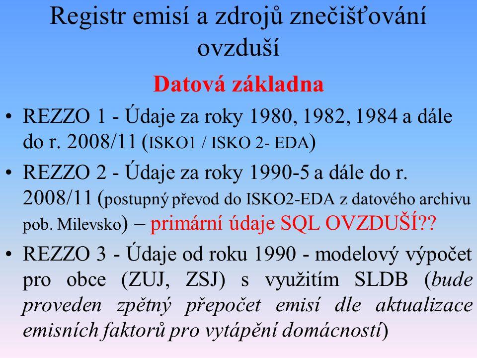 Registr emisí a zdrojů znečišťování ovzduší Datová základna REZZO 1 - Údaje za roky 1980, 1982, 1984 a dále do r. 2008/11 ( ISKO1 / ISKO 2- EDA ) REZZ