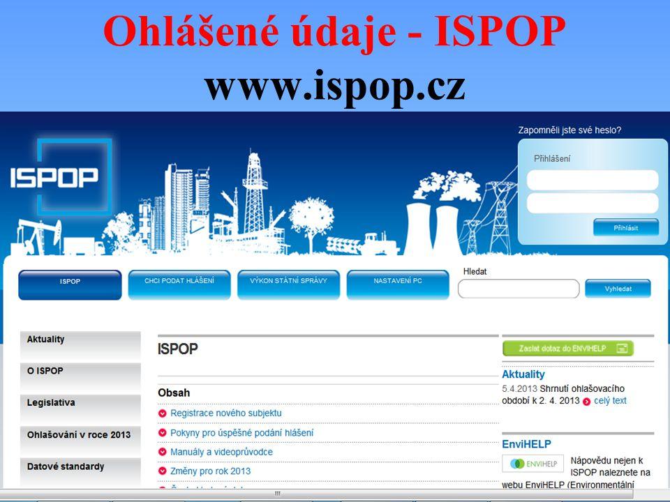 Ohlášené údaje - ISPOP www.ispop.cz
