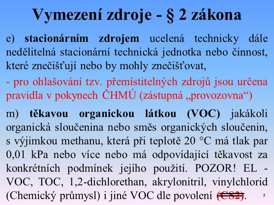 Vymezení zdroje - § 2 zákona e) stacionárním zdrojem ucelená technicky dále nedělitelná stacionární technická jednotka nebo činnost, které znečišťují nebo by mohly znečišťovat, - pro ohlašování tzv.