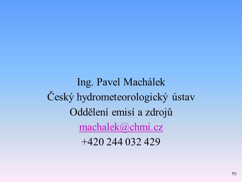 Ing. Pavel Machálek Český hydrometeorologický ústav Oddělení emisí a zdrojů machalek@chmi.cz +420 244 032 429 50