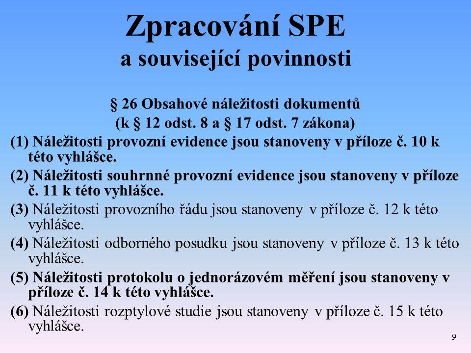 Zpracování SPE a související povinnosti § 26 Obsahové náležitosti dokumentů (k § 12 odst. 8 a § 17 odst. 7 zákona) (1) Náležitosti provozní evidence j