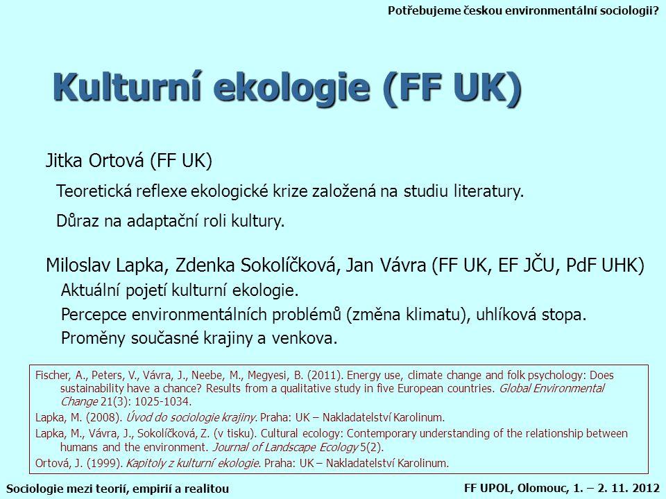 Potřebujeme českou environmentální sociologii? Sociologie mezi teorií, empirií a realitou FF UPOL, Olomouc, 1. – 2. 11. 2012 Kulturní ekologie (FF UK)