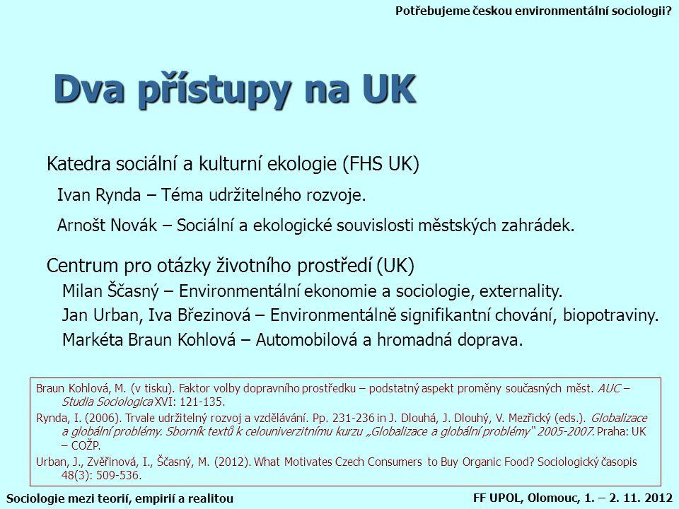 Potřebujeme českou environmentální sociologii? Sociologie mezi teorií, empirií a realitou FF UPOL, Olomouc, 1. – 2. 11. 2012 Dva přístupy na UK Katedr