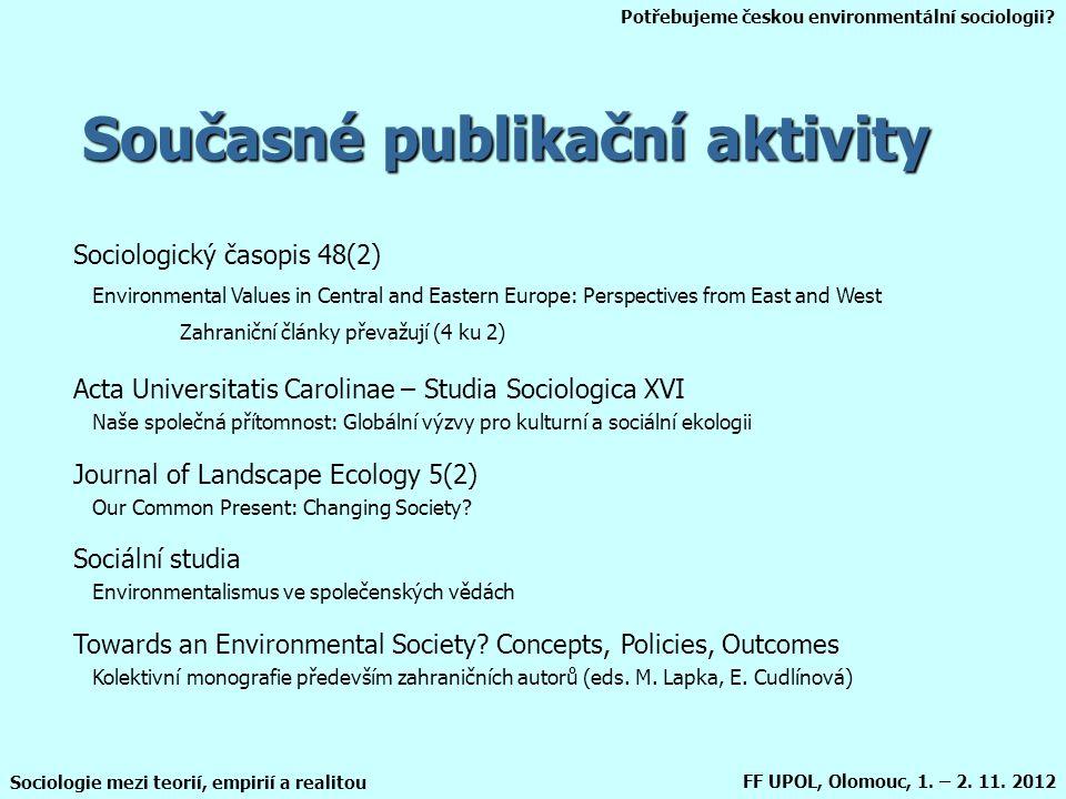 Potřebujeme českou environmentální sociologii? Sociologie mezi teorií, empirií a realitou FF UPOL, Olomouc, 1. – 2. 11. 2012 Současné publikační aktiv