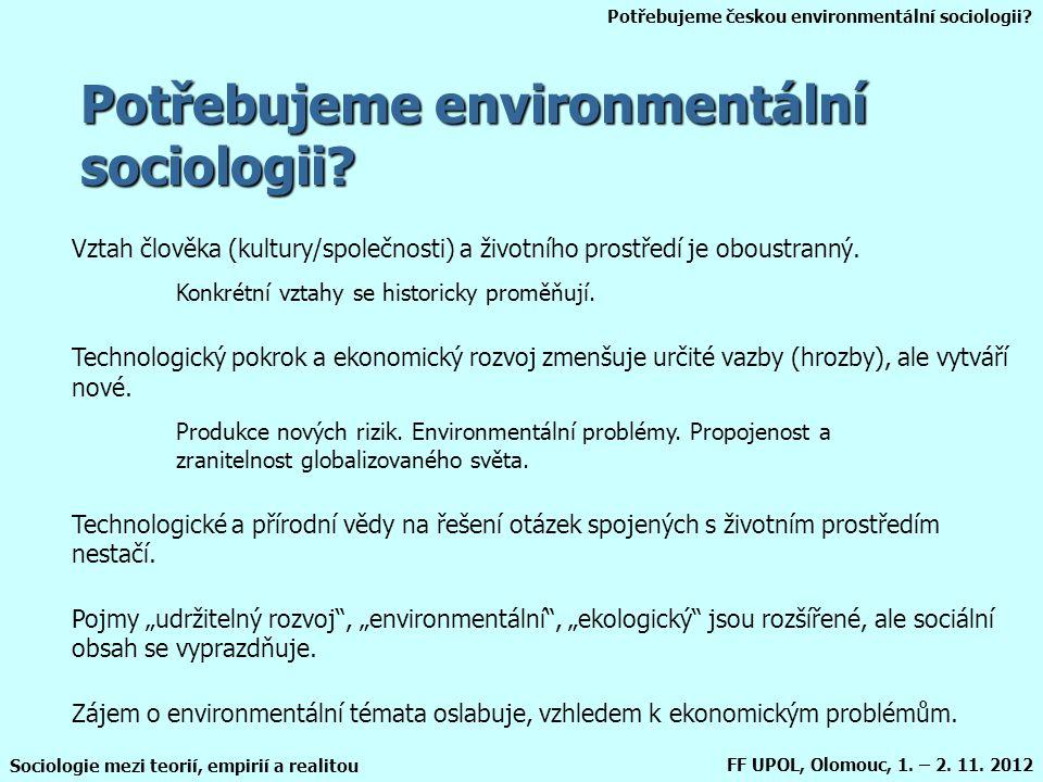 Potřebujeme českou environmentální sociologii? Sociologie mezi teorií, empirií a realitou FF UPOL, Olomouc, 1. – 2. 11. 2012 Potřebujeme environmentál