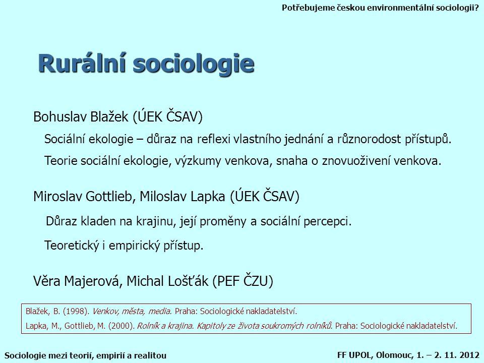 Potřebujeme českou environmentální sociologii? Sociologie mezi teorií, empirií a realitou FF UPOL, Olomouc, 1. – 2. 11. 2012 Rurální sociologie Bohusl