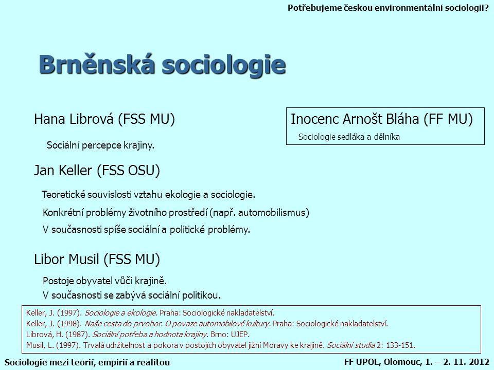Potřebujeme českou environmentální sociologii? Sociologie mezi teorií, empirií a realitou FF UPOL, Olomouc, 1. – 2. 11. 2012 Brněnská sociologie Hana