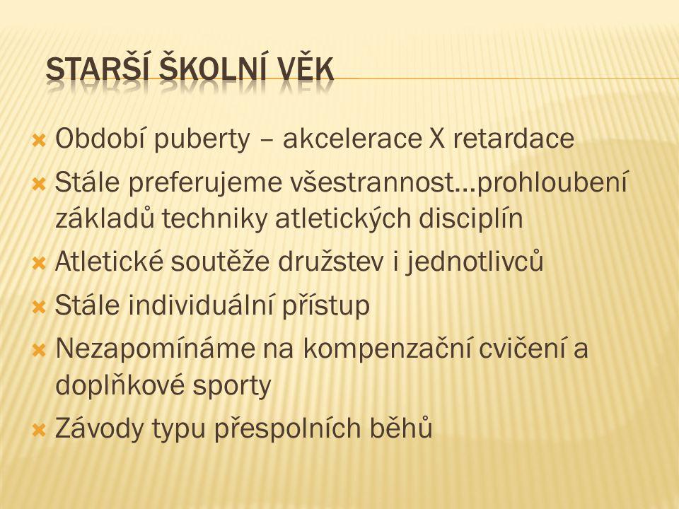 Období puberty – akcelerace X retardace  Stále preferujeme všestrannost…prohloubení základů techniky atletických disciplín  Atletické soutěže druž