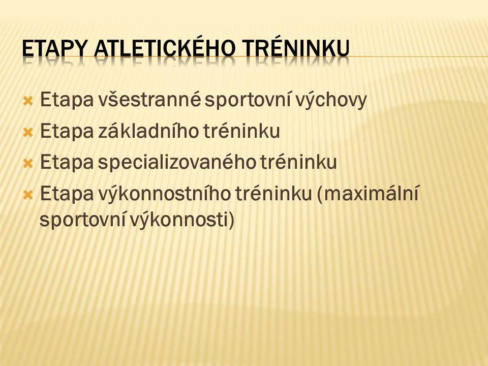 Atletická předpřípravka - atletická školka (5 – 6 let) Atletická přípravka (6 – 11 let) MINIPŘÍPRAVKA (6 – 9 let) PŘÍPRAVKA (10 – 11 let) Cíl: obecná všestrannost, tréninkové prostředky na rozvoj rychlosti a koordinace