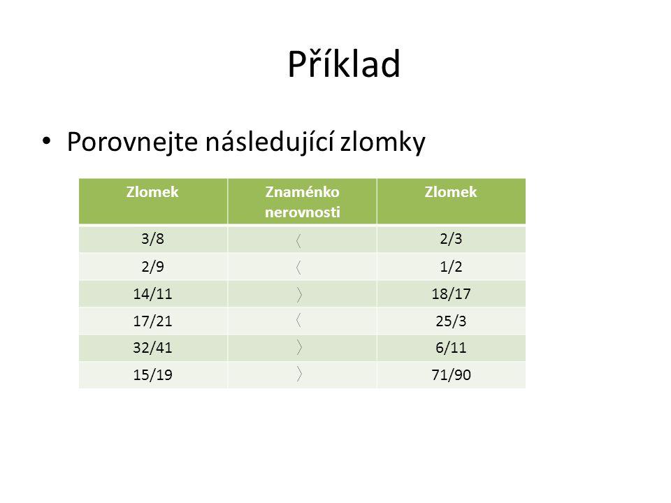 Příklad Porovnejte následující zlomky ZlomekZnaménko nerovnosti Zlomek 3/82/3 2/91/2 14/1118/17 17/2125/3 32/416/11 15/1971/90