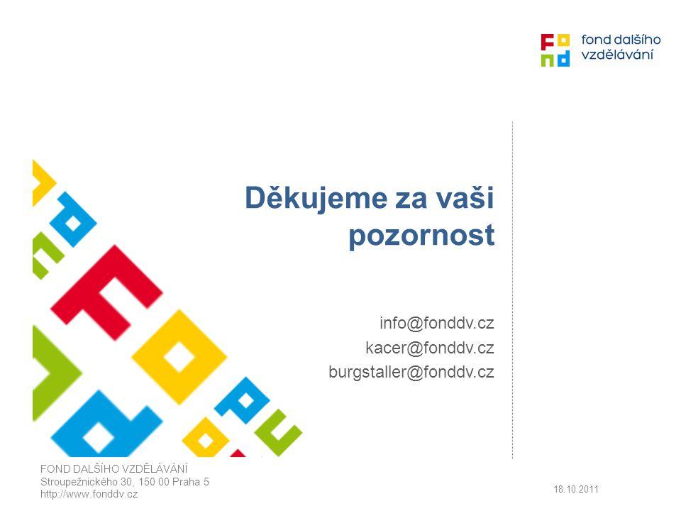 Děkujeme za vaši pozornost info@fonddv.cz kacer@fonddv.cz burgstaller@fonddv.cz FOND DALŠÍHO VZDĚLÁVÁNÍ Stroupežnického 30, 150 00 Praha 5 http://www.fonddv.cz 18.10.2011