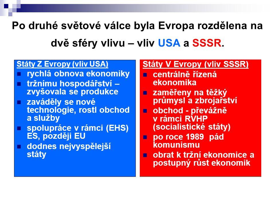 Po druhé světové válce byla Evropa rozdělena na dvě sféry vlivu – vliv USA a SSSR. Státy Z Evropy (vliv USA) rychlá obnova ekonomiky tržnímu hospodářs