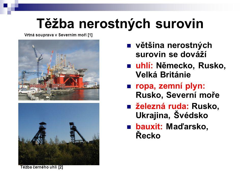 Těžba nerostných surovin většina nerostných surovin se dováží uhlí: Německo, Rusko, Velká Británie ropa, zemní plyn: Rusko, Severní moře železná ruda: