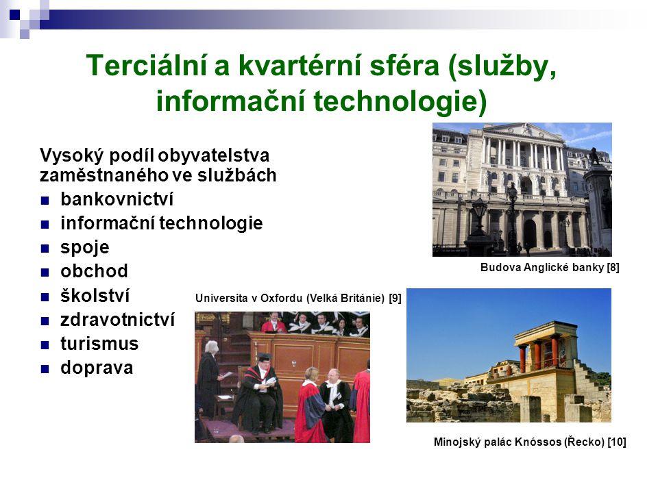 Terciální a kvartérní sféra (služby, informační technologie) Vysoký podíl obyvatelstva zaměstnaného ve službách bankovnictví informační technologie sp