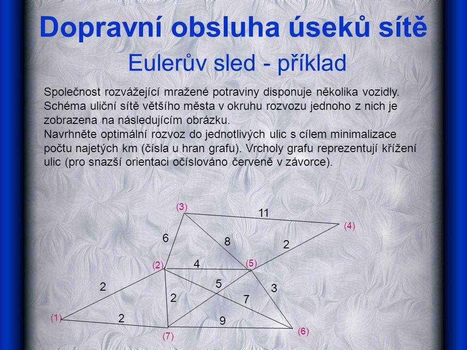 Dopravní obsluha úseků sítě Eulerův sled - příklad Společnost rozvážející mražené potraviny disponuje několika vozidly. Schéma uliční sítě většího měs